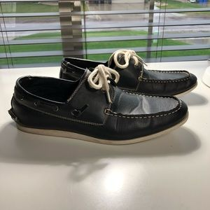 Navy Blue Leather Steve Madden Gameon Shoes